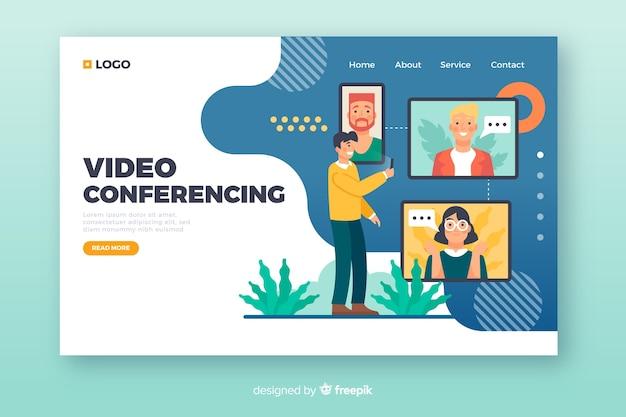 Concetto di videoconferenza per pagina di destinazione Vettore gratuito