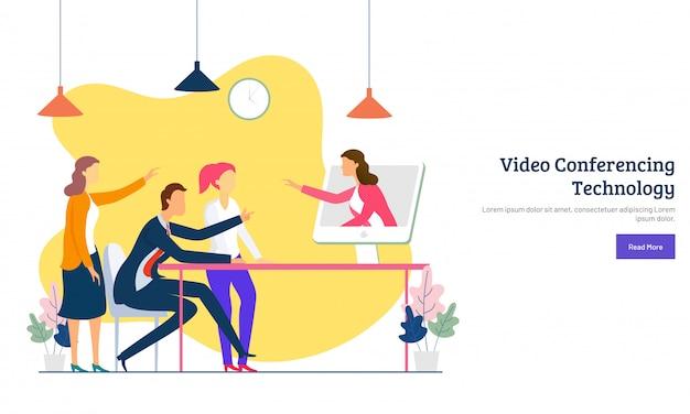 Concetto di videoconferenza Vettore Premium