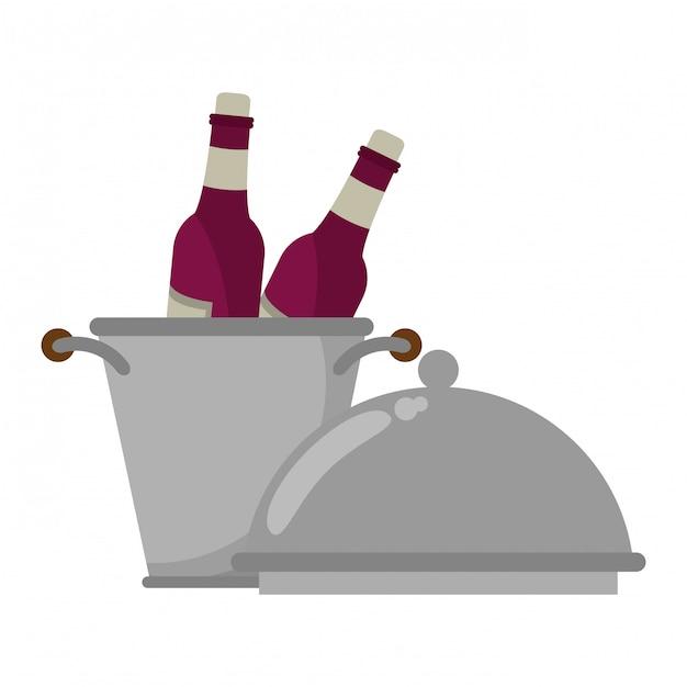 Concetto di vino e gastronomia Vettore Premium