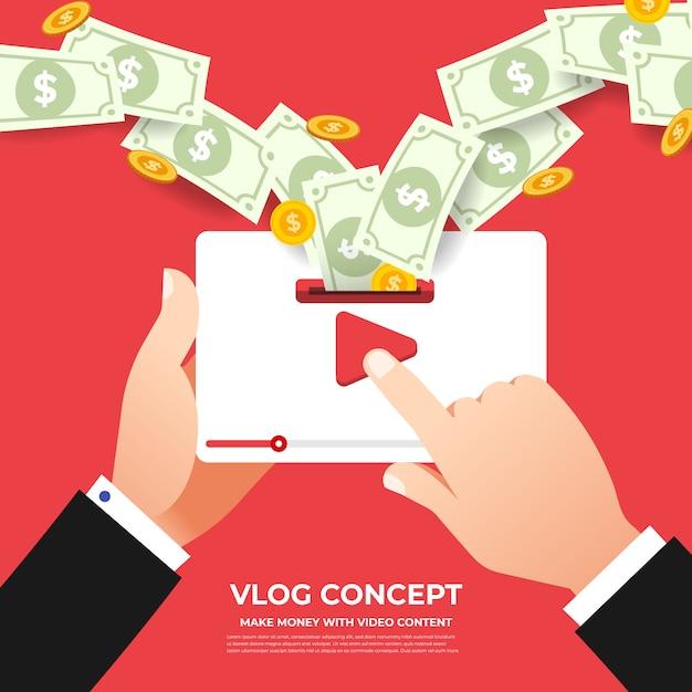 Concetto di vlog design piatto. crea contenuti video e guadagna. illustrare Vettore Premium