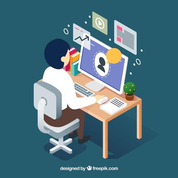 Concetto di webinar con l'uomo sulla scrivania Vettore gratuito