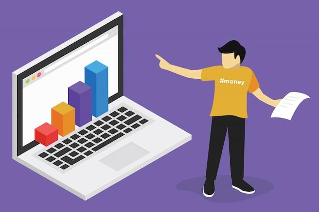 Concetto di webinar, formazione online di business finance, formazione sul computer, e apprendimento del posto di lavoro Vettore Premium