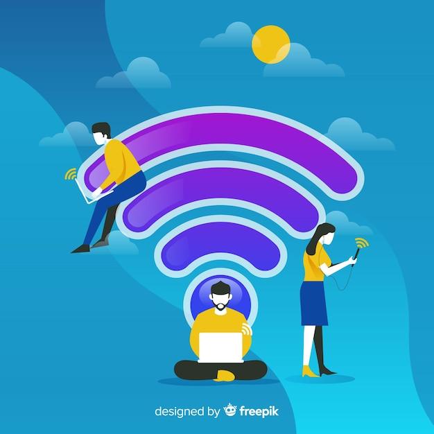 Concetto di wifi piatto Vettore gratuito