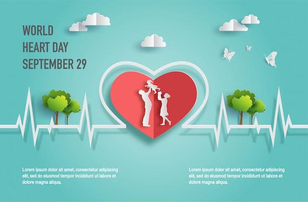 Concetto di world heart day, famiglia felice con la linea del battito cardiaco. Vettore Premium