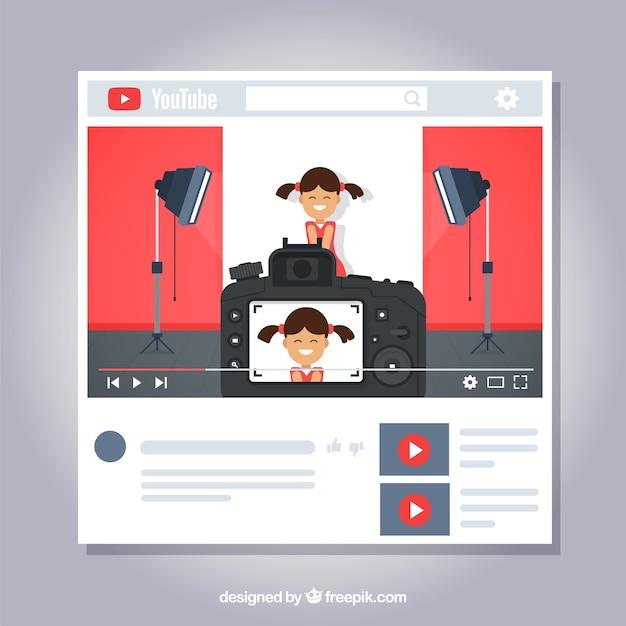 Concetto di youtube Vettore gratuito