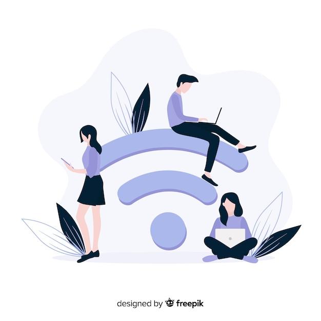 Concetto di zona wifi piatto con segnale Vettore gratuito