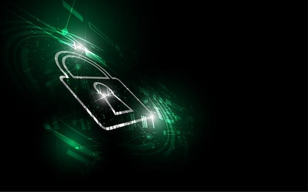 Concetto digitale cyber di sicurezza il fondo astratto della tecnologia protegge l'innovazione del sistema Vettore Premium