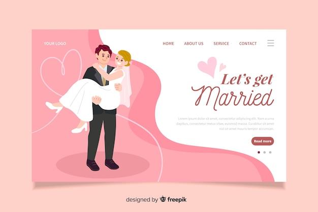 Concetto digitale per la pagina di destinazione del matrimonio Vettore gratuito