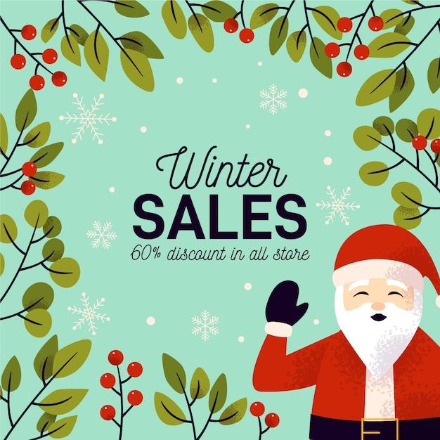 Concetto disegnato a mano dell'insegna di vendita di inverno Vettore gratuito