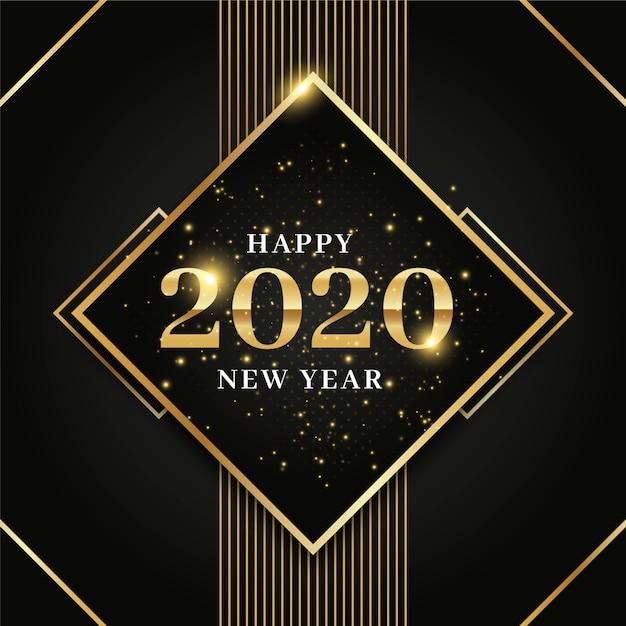 Concetto dorato del fondo del nuovo anno 2020 Vettore gratuito