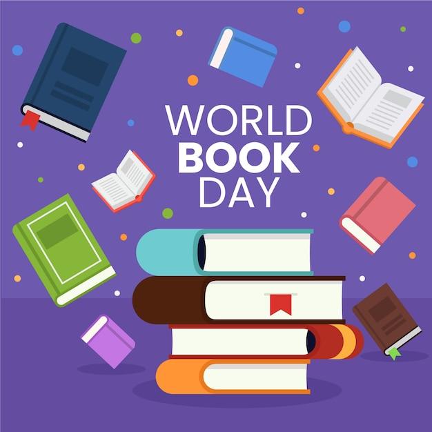 Concetto educativo di giornata mondiale del libro design piatto Vettore gratuito