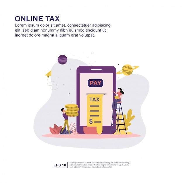 Concetto fiscale online Vettore Premium