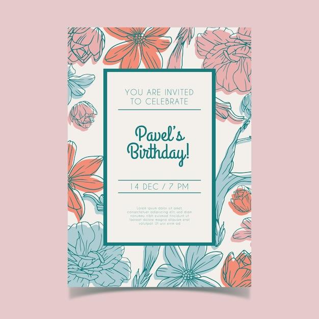 Concetto floreale del modello dell'invito del biglietto di auguri per il compleanno Vettore gratuito