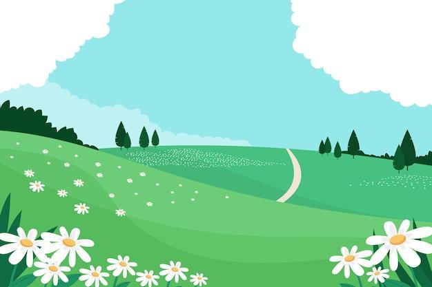 Concetto floreale del paesaggio di primavera Vettore gratuito