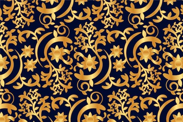 Concetto floreale ornamentale dorato del fondo Vettore gratuito