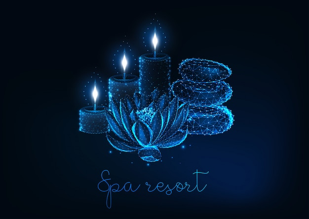 Concetto futuristico del ricorso di stazione termale con il fiore di loto basso poli d'ardore, le candele aromatiche e le pietre di zen. Vettore Premium