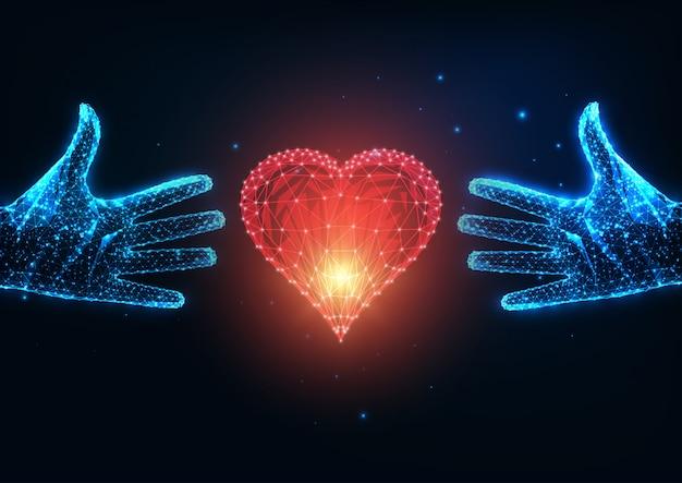 Concetto futuristico di amore con due mani umane poligonali basse d'ardore che provano a raggiungere un cuore rosso Vettore Premium