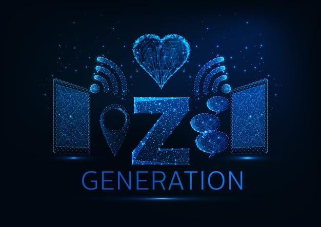 Concetto futuristico di generazione z con tablet, wi-fi, simboli pin gps, bolle di discorso, a forma di cuore Vettore Premium