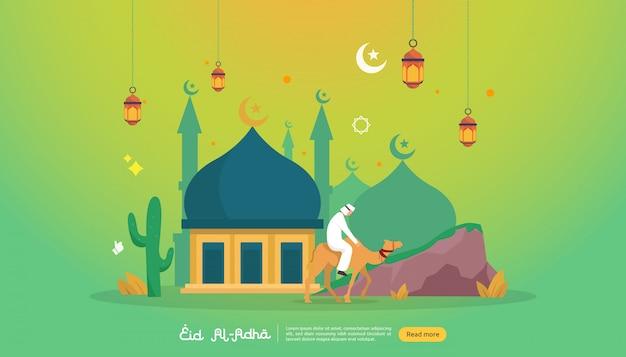 Concetto islamico dell'illustrazione di progettazione per l'evento felice di celebrazione di sacrificio di eid al adha Vettore Premium