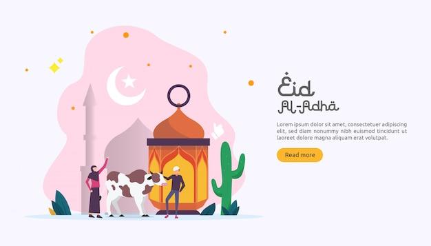 Concetto islamico per happy eid al adha o evento di celebrazione del sacrificio Vettore Premium