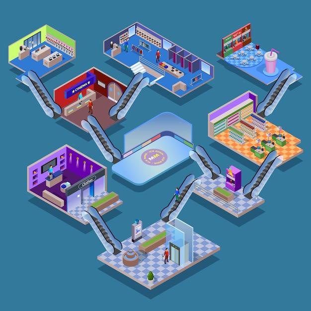 Concetto isometrica del centro commerciale Vettore gratuito