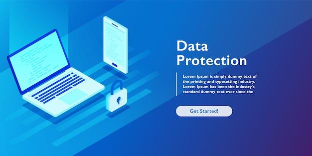 Concetto isometrica di sicurezza Vettore Premium