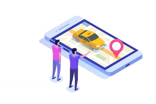 Concetto isometrico app taxi mobile online. punto di percorso gps e cabina gialla. Vettore Premium