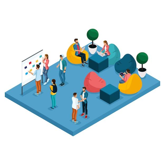 Concetto isometrico del centro di coworking Vettore Premium