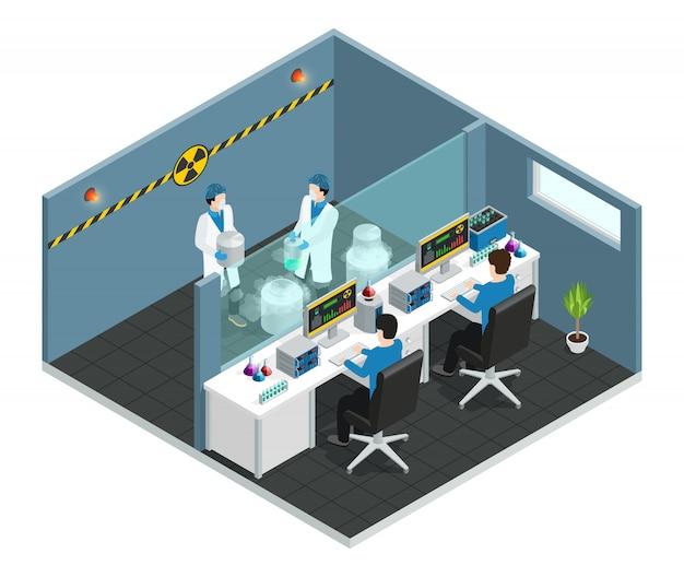 Concetto isometrico del laboratorio scientifico con gli assistenti che lavorano nell'interno medico del laboratorio chimico o biologico Vettore gratuito