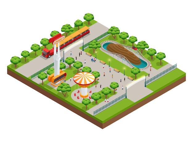 Concetto isometrico del parco di divertimenti Vettore gratuito