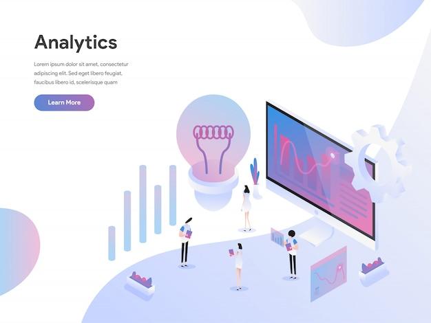 Concetto isometrico dell'illustrazione di analisi dei dati Vettore Premium