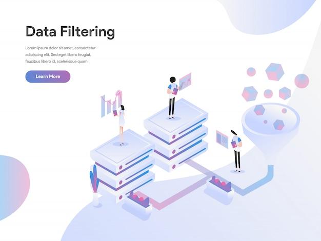 Concetto isometrico dell'illustrazione di filtraggio di dati Vettore Premium