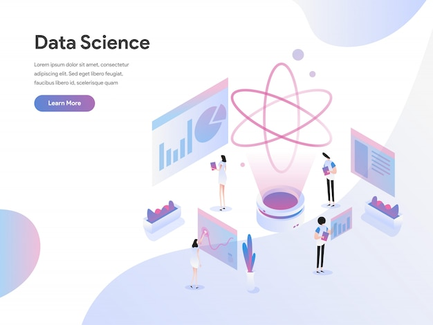 Concetto isometrico dell'illustrazione di scienza di dati Vettore Premium