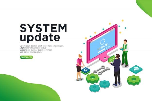 Concetto isometrico dell'illustrazione di vettore dell'aggiornamento di sistema. Vettore Premium