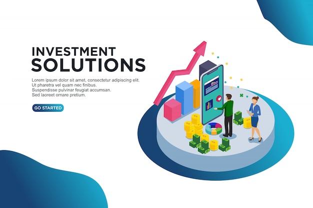 Concetto isometrico dell'illustrazione di vettore delle soluzioni di investimento. Vettore Premium
