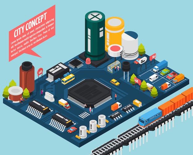 Concetto isometrico della città dei componenti elettronici a semiconduttore Vettore gratuito