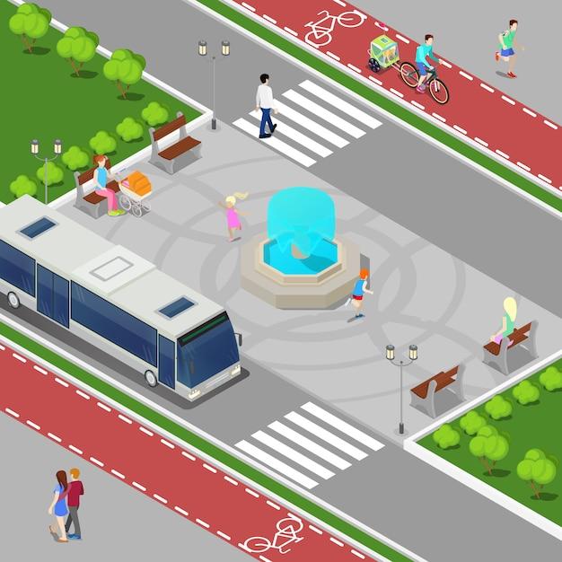 Concetto isometrico della città moderna. fontana cittadina con bambini. pista ciclabile con persone a cavallo. illustrazione vettoriale Vettore Premium
