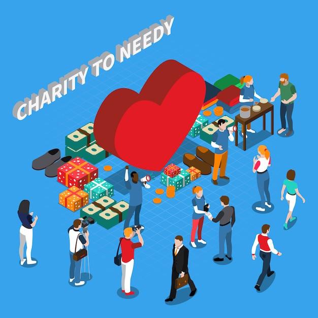 Concetto isometrico della gente volontaria di carità Vettore gratuito