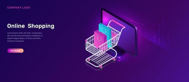 Concetto isometrico di acquisto online, carrello Vettore gratuito