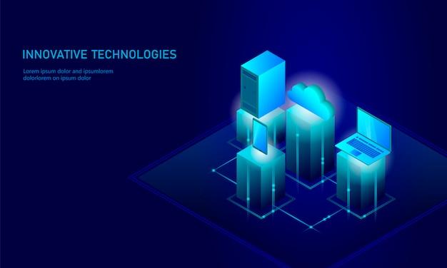 Concetto isometrico di affari di stoccaggio della nuvola di sicurezza, tecnologia futura dello smartphone, infographic 3d Vettore Premium