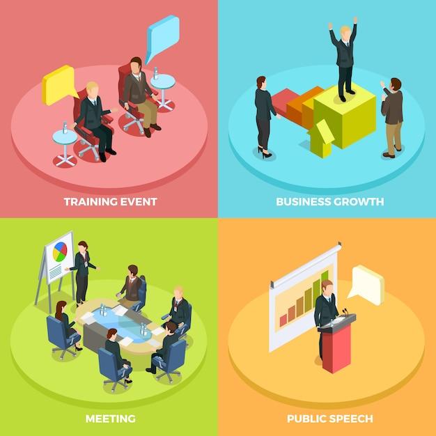 Concetto isometrico di apprendimento aziendale Vettore Premium