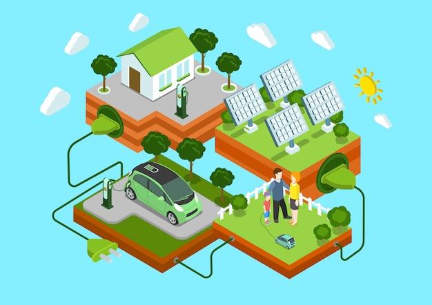 Concetto isometrico di ecologia alternativa eco energia verde stile di vita. casa della famiglia delle batterie solari dell'automobile elettrica sull'illustrazione verde del collegamento del cavo del prato inglese. Vettore Premium