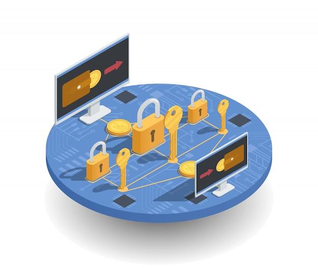 Concetto isometrico di investimenti e guadagni di criptovaluta Vettore gratuito