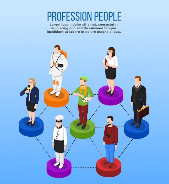 Concetto isometrico di occupazione professionale Vettore gratuito