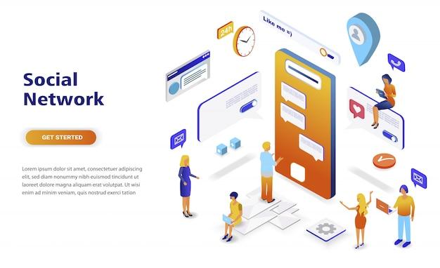 Concetto isometrico di progettazione piana moderna della rete sociale Vettore Premium