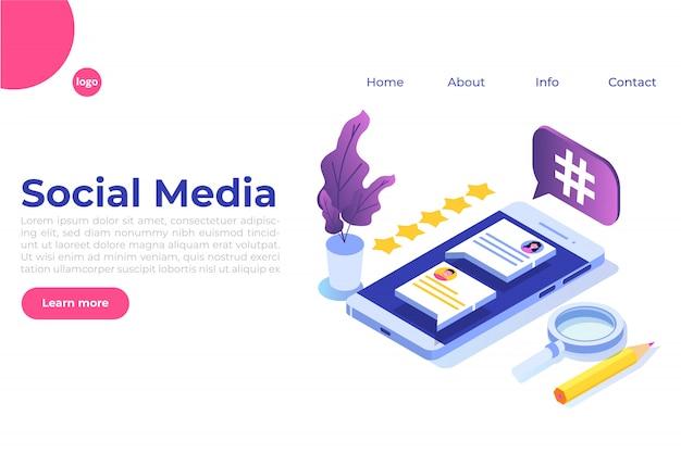 Concetto isometrico di social media con personaggi. modello di pagina di destinazione. illustrazione Vettore Premium