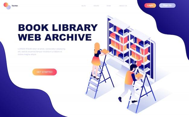 Concetto isometrico moderno design piatto della biblioteca del libro Vettore Premium