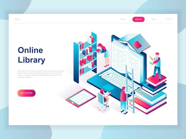 Concetto isometrico moderno design piatto della biblioteca online Vettore Premium