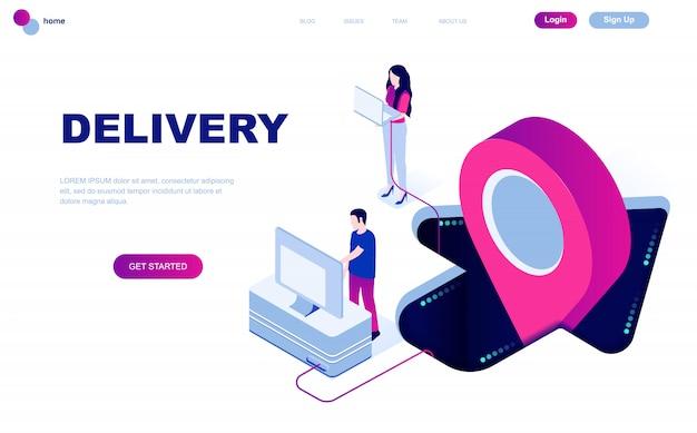 Concetto isometrico moderno design piatto di consegna in tutto il mondo Vettore Premium