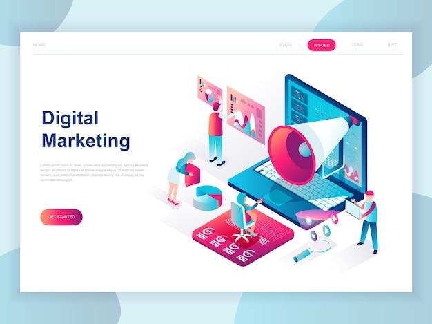 Concetto isometrico moderno design piatto di digital marketing Vettore Premium